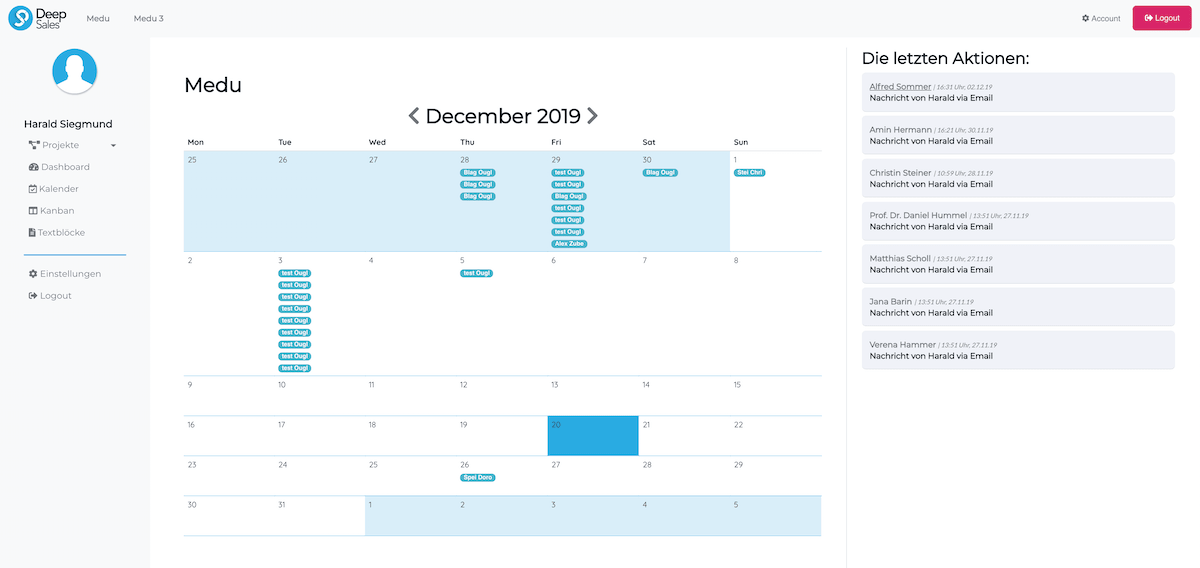 Sales CRM mit Kalender