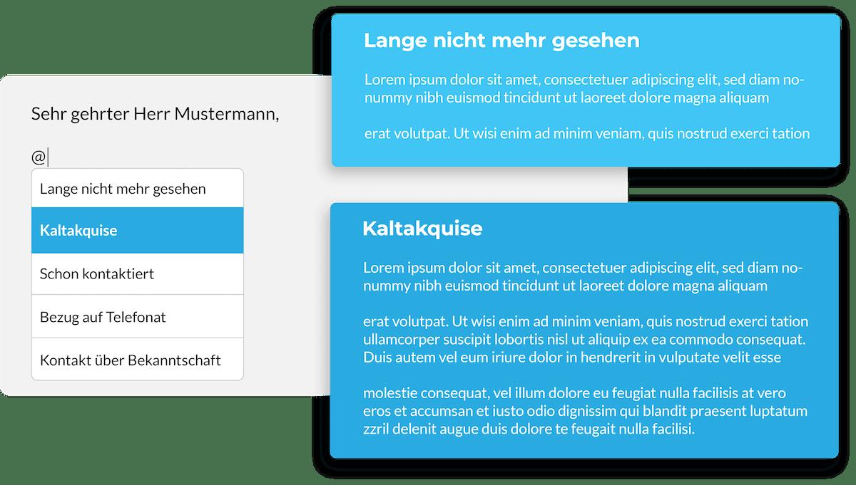 Vertriebs CRM ermöglicht das einfügen von Textblöcken
